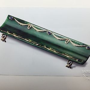 NEW-Limited-Edition-Faberge-18K-Yellow-Gold-Jade-Sapphire-Diamond-Pen-Tray-0